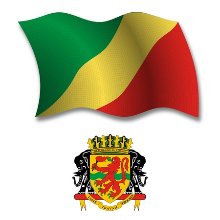 republic of the congo shadowed textured wavy flag and coat of arms against white background, vector art illustration, image contains transparency transparency
