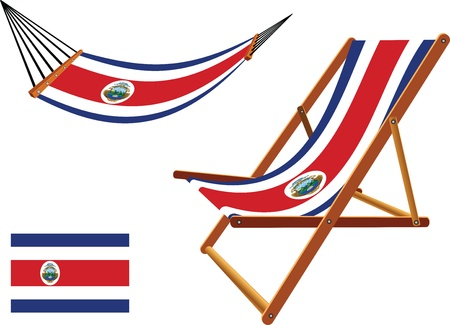 cameroon hammock and deck chair set against white background, abstract vector art illustration
