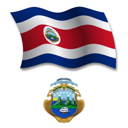 costa rica shadowed textured wavy flag and coat of arms against white background, vector art illustration, image contains transparency transparency