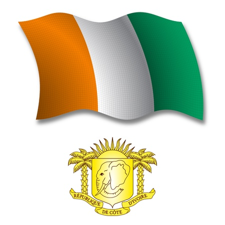 cote divoire shadowed textured wavy flag and coat of arms against white background, vector art illustration, image contains transparency transparency