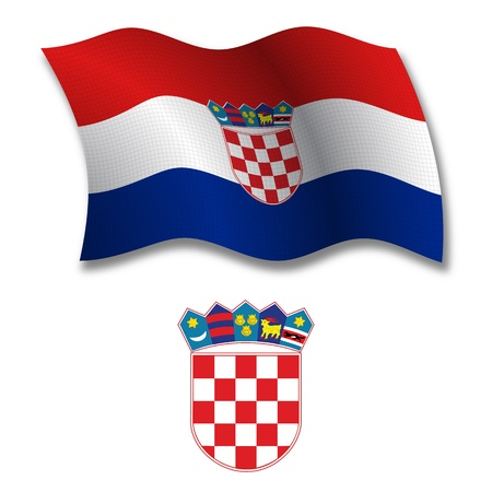 white coat: croatia shadowed textured wavy flag and coat of arms against white background, vector art illustration, image contains transparency transparency Illustration