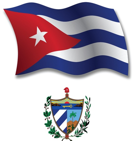 cuba shadowed textured wavy flag and coat of arms against white background, vector art illustration, image contains transparency transparency