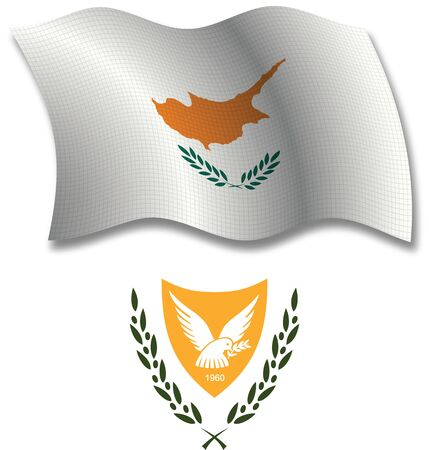 cyprus shadowed textured wavy flag and coat of arms against white background, vector art illustration, image contains transparency transparency