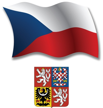 czech republic shadowed textured wavy flag and coat of arms against white background, vector art illustration, image contains transparency transparency