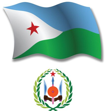 djibouti shadowed textured wavy flag and coat of arms against white background, vector art illustration, image contains transparency transparency