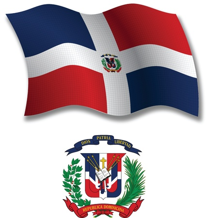white coat: dominican republic shadowed textured wavy flag and coat of arms against white background, vector art illustration, image contains transparency transparency