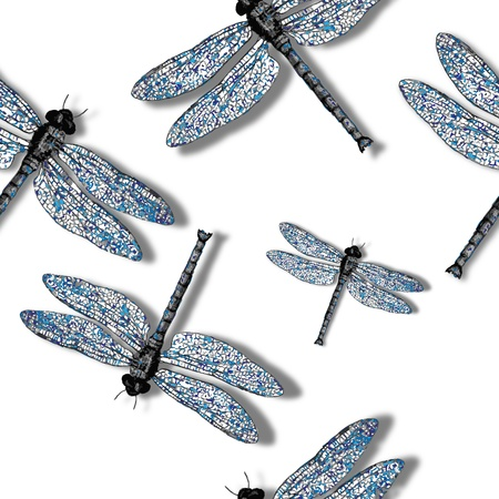 blue flame: dragonfly pattern against white background, abstract seamless texture, vector art illustration, image contains transparency
