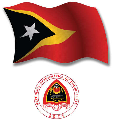 east timor shadowed textured wavy flag and coat of arms against white background, vector art illustration, image contains transparency transparency