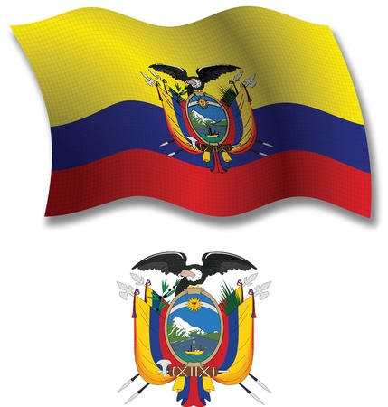 ecuador shadowed textured wavy flag and coat of arms against white background, vector art illustration, image contains transparency transparency