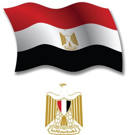 egypt flag: egipto sombra bandera ondulada textura y el escudo contra el fondo blanco, ilustraci�n de arte vectorial, la imagen contiene transparencia transparencia