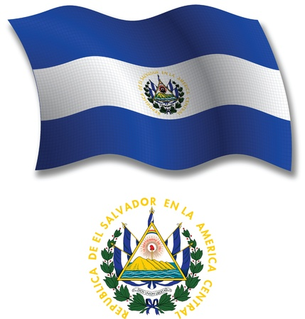 el salvador flag: el salvador shadowed textured wavy flag and coat of arms against white background, vector art illustration, image contains transparency transparency Illustration