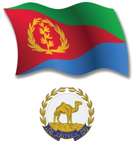 eritrea shadowed textured wavy flag and coat of arms against white background, vector art illustration, image contains transparency transparency