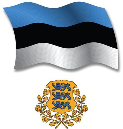 透明性透明性がイメージに含まれているエストニア影テクスチャ波状旗、紋章付き外衣白い背景に、ベクトル アート イラスト