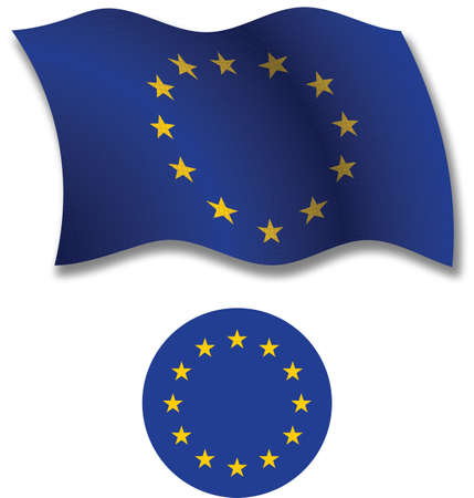 european union shadowed textured wavy flag and coat of arms against white background, vector art illustration, image contains transparency transparency Çizim
