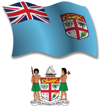 fiji shadowed textured wavy flag and coat of arms against white background, vector art illustration, image contains transparency transparency