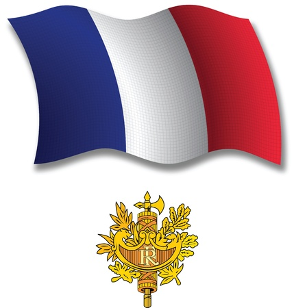 france shadowed textured wavy flag and coat of arms against white background, vector art illustration, image contains transparency transparency
