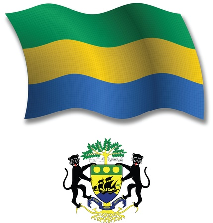 gabonese republic shadowed textured wavy flag and coat of arms against white background, vector art illustration, image contains transparency transparency