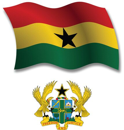 ghana shadowed textured wavy flag and coat of arms against white background, vector art illustration, image contains transparency transparency