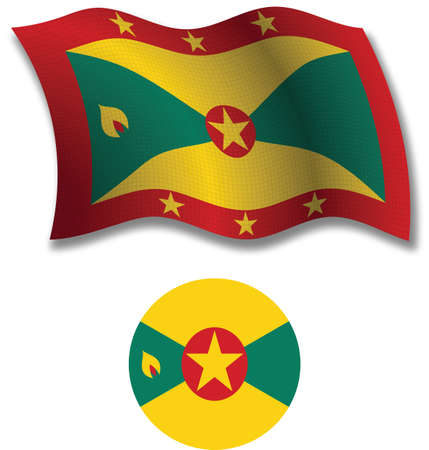 grenada shadowed textured wavy flag and icon against white background, vector art illustration, image contains transparency transparency Vector