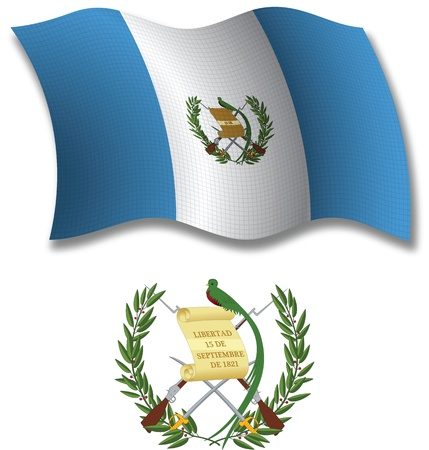 guatemala shadowed textured wavy flag and coat of arms against white background, vector art illustration, image contains transparency transparency