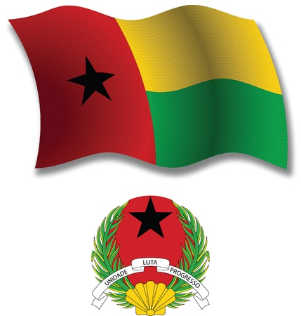 guinea bissau shadowed textured wavy flag and coat of arms against white background, vector art illustration, image contains transparency transparency