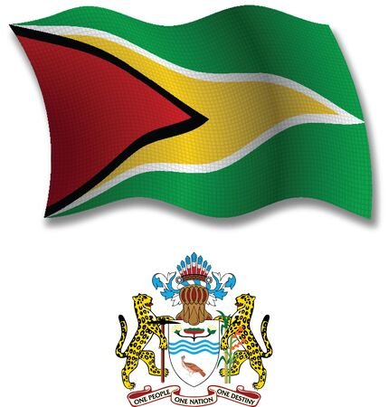 guyana shadowed textured wavy flag and coat of arms against white background, vector art illustration, image contains transparency transparency