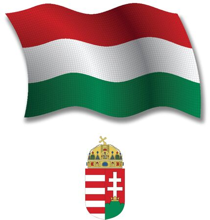 hungary shadowed textured wavy flag and coat of arms against white background, vector art illustration, image contains transparency transparency Иллюстрация