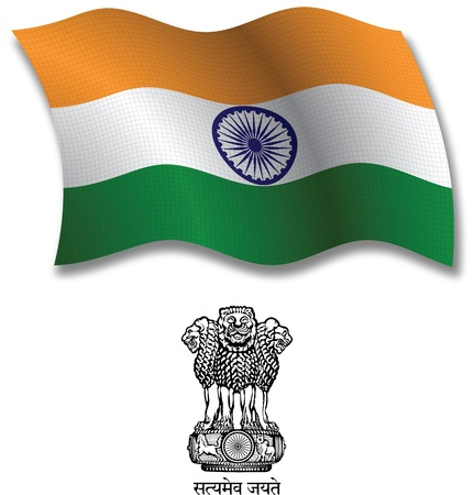 india shadowed textured wavy flag and coat of arms against white background, vector art illustration, image contains transparency transparency Illustration