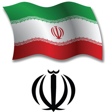 iran shadowed textured wavy flag and coat of arms against white background, vector art illustration, image contains transparency transparency