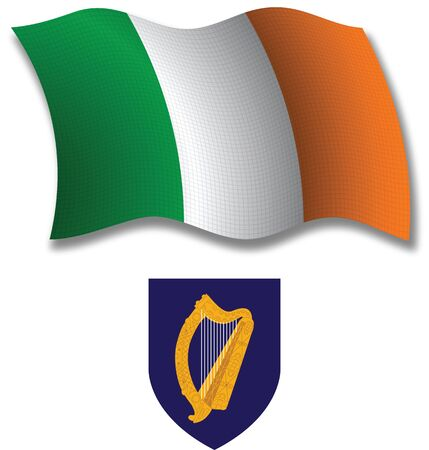 ireland shadowed textured wavy flag and coat of arms against white background, vector art illustration, image contains transparency transparency