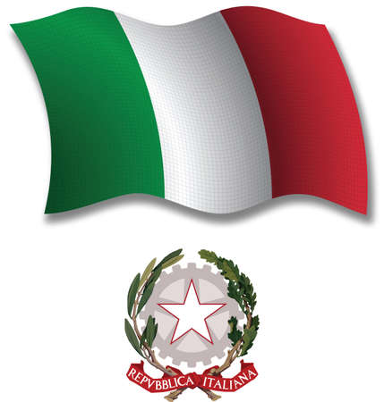 italy shadowed textured wavy flag and coat of arms against white background, vector art illustration, image contains transparency transparency
