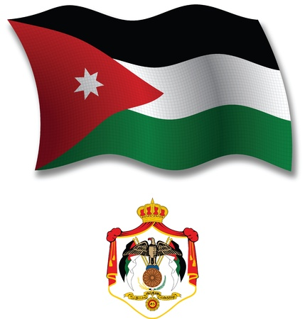 jordan shadowed textured wavy flag and coat of arms against white background, vector art illustration, image contains transparency transparency