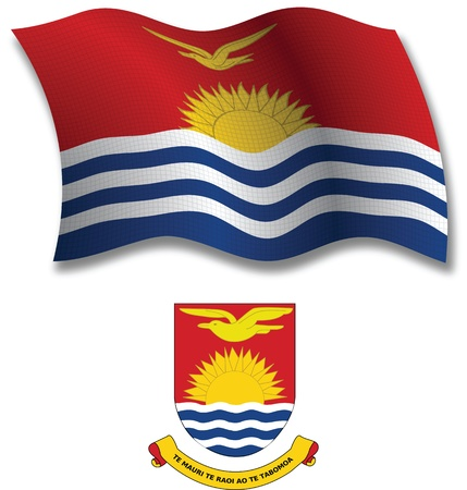 kiribati shadowed textured wavy flag and coat of arms against white background, vector art illustration, image contains transparency transparency