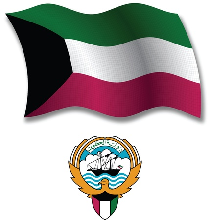 kuwait shadowed textured wavy flag and coat of arms against white background, vector art illustration, image contains transparency transparency Illustration