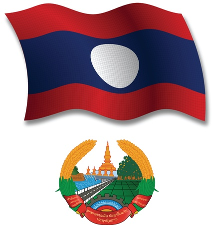 laos shadowed textured wavy flag and coat of arms against white background, vector art illustration, image contains transparency transparency Иллюстрация