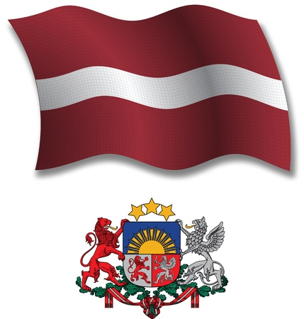 latvia shadowed textured wavy flag and coat of arms against white background, vector art illustration, image contains transparency transparency Иллюстрация
