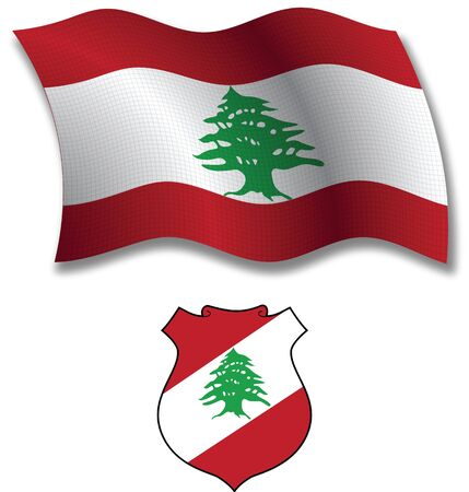 lebanon shadowed textured wavy flag and coat of arms against white background, vector art illustration, image contains transparency transparency