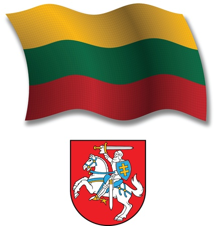 lithuania shadowed textured wavy flag and coat of arms against white background, vector art illustration, image contains transparency transparency Stock Vector - 21633207
