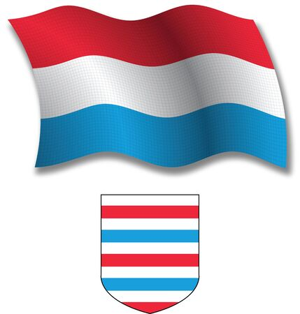 luxembourg shadowed textured wavy flag and coat of arms against white background, vector art illustration, image contains transparency transparency