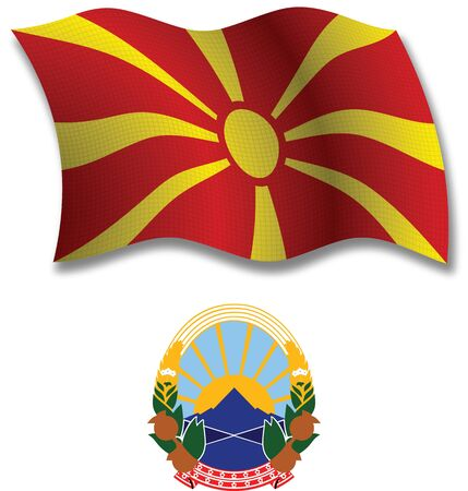 macedonia shadowed textured wavy flag and coat of arms against white background, vector art illustration, image contains transparency transparency Иллюстрация