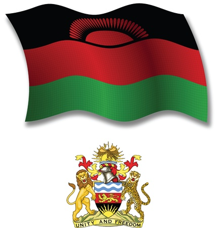 malawi shadowed textured wavy flag and coat of arms against white background, vector art illustration, image contains transparency transparency