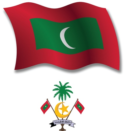 maldives shadowed textured wavy flag and coat of arms against white background, vector art illustration, image contains transparency transparency