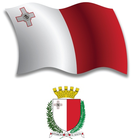 malta shadowed textured wavy flag and coat of arms against white background, vector art illustration, image contains transparency transparency