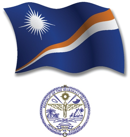 shadowed: marshall islands shadowed textured wavy flag and coat of arms against white background, vector art illustration, image contains transparency transparency