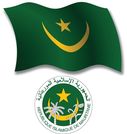 mauritania shadowed textured wavy flag and coat of arms against white background, vector art illustration, image contains transparency transparency Illustration