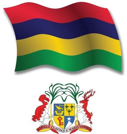 mauritius shadowed textured wavy flag and coat of arms against white background, vector art illustration, image contains transparency transparency Illustration