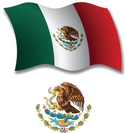 united mexican states shadowed textured wavy flag and coat of arms against white background, vector art illustration, image contains transparency transparency