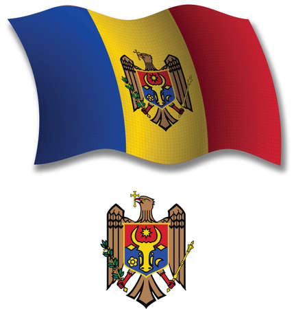 moldova shadowed textured wavy flag and coat of arms against white background, vector art illustration, image contains transparency transparency