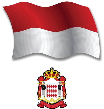 white coat: monaco shadowed textured wavy flag and coat of arms against white background, vector art illustration, image contains transparency transparency