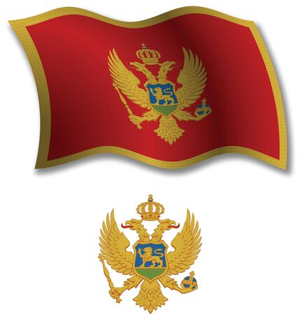 montenegro shadowed textured wavy flag and coat of arms against white background, vector art illustration, image contains transparency transparency